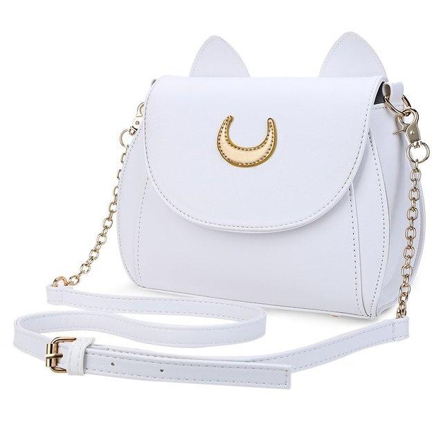 2d3397157a4b Cute Sailor Moon Ladies Handbag Black White Luna Cat Shape Chain Shoulder  Bag Women Messenger Crossbody Mini Bag Cheap Wholesale