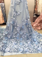 Lux 3D Pearl Beaded Blossom Floral Embroidery Lace Fabric in Blue Fabric by Yard , Haute Couture Bridal Wedding Gown Accessories