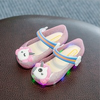 Baby Girls Sandals Unicorn Kids Shoes 2018 Summer Bling Rainbow Princess Casual Sandals LED Shoes EE
