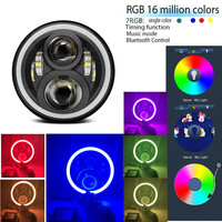 RGB Halo 7 Round Harley Daymaker LED Projection Headlight for Harley Davidson Motorcycles with Phone App controll 7 Halo RGB
