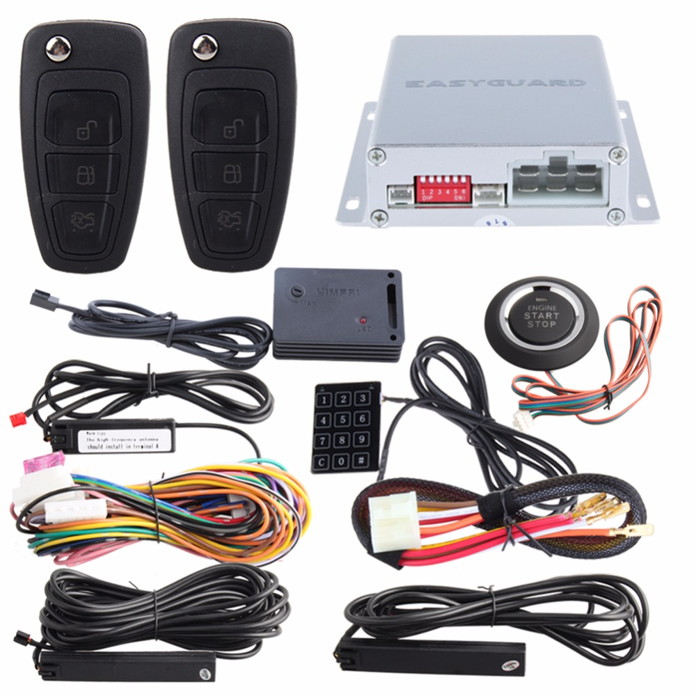 EASYGUARD passive keyless entry car alarm Rolling code remote engine start stop push button start password entry shock alarm quality easyguard pke car alarm system passive keyless entry kit remote engine start push button start remote lock unlock