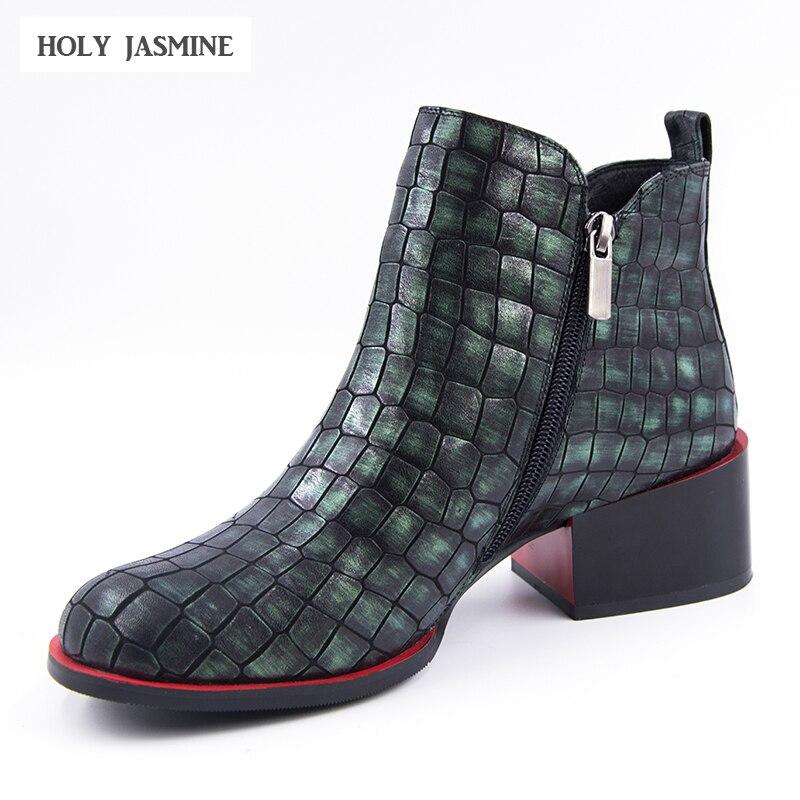 Женская обувь 2018 весна женские ботильоны натуральная кожа модная женская обувь квадратный каблук круглый носок молния камень зерна Сапоги ...