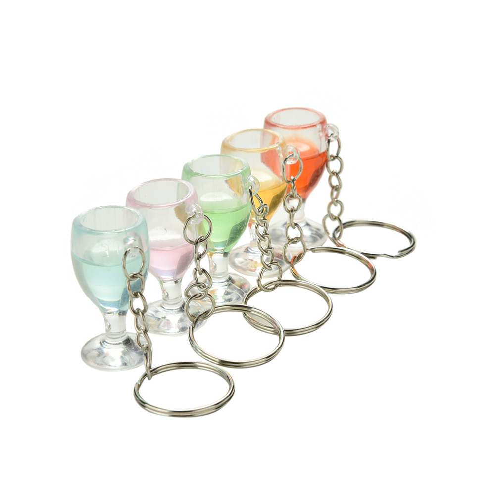 New Arrive Lanyard Keychain Jewelry Clear Transparent Fake Wineglass Key Chain Keyring For Women Gift 1PCS