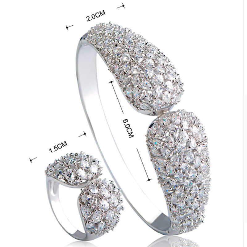 Blucome ดูไบ Gold สีแหวนกำไลชุดเครื่องประดับ Shiny Zircon ทองแดงชุดผู้หญิงจัดเลี้ยงงานแต่งงานมืออุปกรณ์เสริมของขวัญ