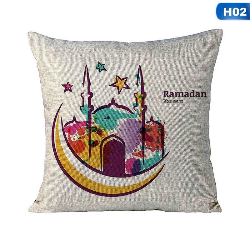 Islam Muslim Masjid Mosque Cushion Covers Eid Ramadan Kareem Moon Art Cushion Cover Decorative Cotton Linen Pillow Case