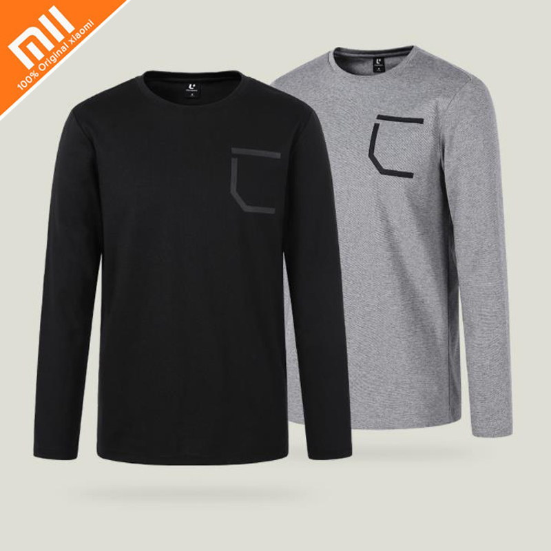 цена на Original Xiaomi Mijia Uleemark Men's Comfort Round Neck Long Sleeve T-Shirt Slim Trend Casual Men's Long Sleeve T-Shirt