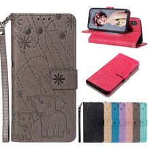 Magnetic Embossed Cute elephant Flip PU Leather Cases For iPhone X XS XR MAS 5s SE 6 6s 7 8 Plus Wallet Stand card Slots Case