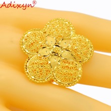 Adixyn Big Flowers Fashion Gold Ring For Women Color India Engagement Party Accessories N04083