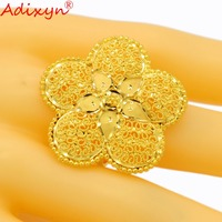 Adixyn Big Flowers Fashion Gold Ring For Women Gold Color India Engagement Ring Party Accessories N04083