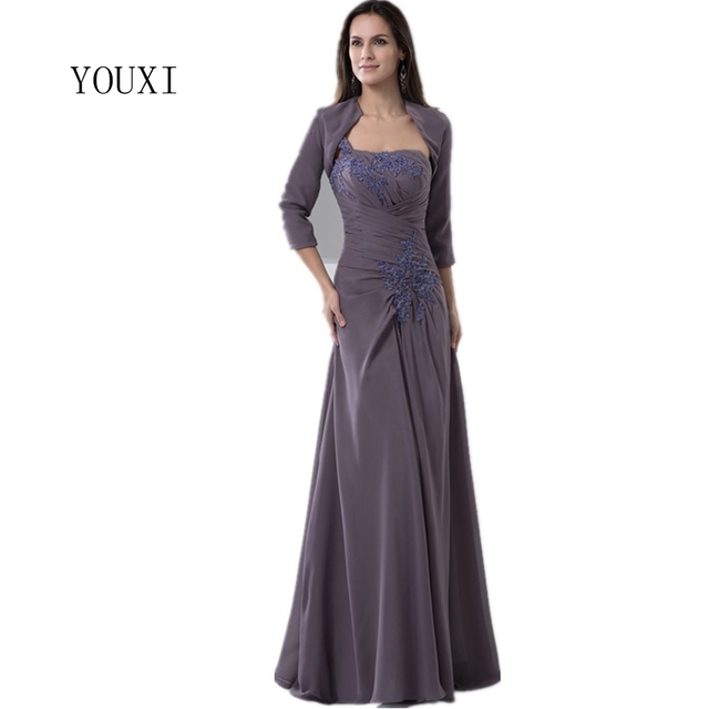 Us 113 4 16 Off Elegant Mother Of The Bride Dresses With Jacket Three Quarters Sleeves 2019 Formal Wedding Guest Dress In Mother Of The Bride