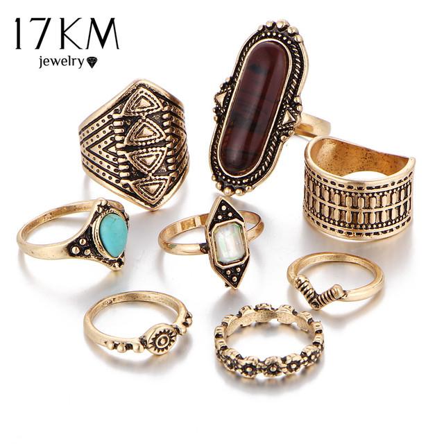 17KM 8pcs/Set Midi ring Sets for Women Boho Beach Vintage Tibetan Turkish Crystal Silver Color Flower Knuckle Rings Gift