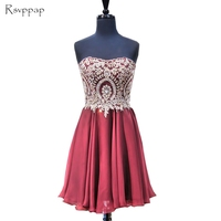 Gorgeous Short Graduation Dresses A line Sweetheart Gold Lace Mini 8th Grade Prom Burgundy Homecoming Dresses 2018