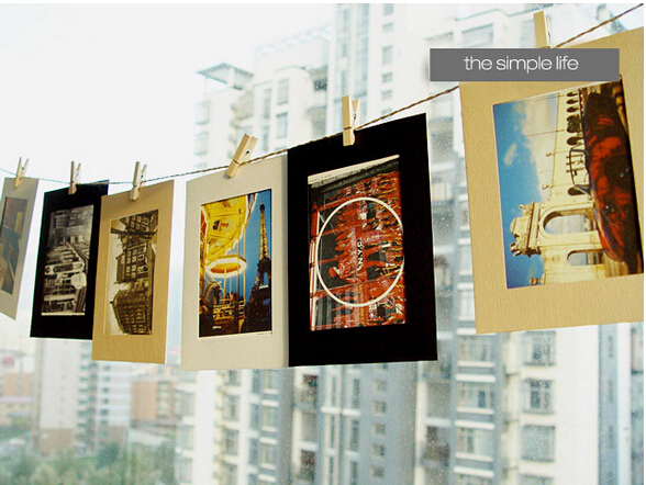 DIY 4x6 Inch Hanging Paper Photo Frames Wall Picture Frames For Home Decoration, Black White Craft Colors, 10pcs/lot