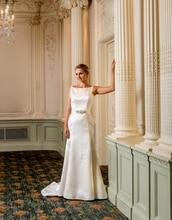 vestido de novia playa long 2016 satin crystal mermaid wedding dresses sweep train plus size v back bridal gowns UD_493
