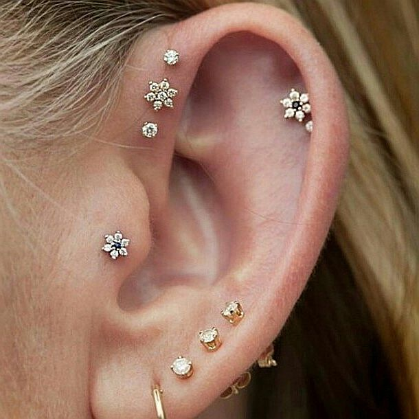1pc Fashion Flower Shape Earrings Studs Ear Cartilage Piercings Zircon Tragus 16g Body Pircing