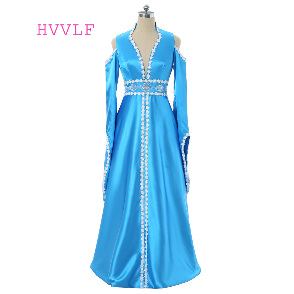 Blue Muslim   Evening     Dresses   2019 A-line V-neck Long Sleeves Lace Bead Islamic Dubai Kaftan Scarf Saudi Arabic Long   Evening   Gown