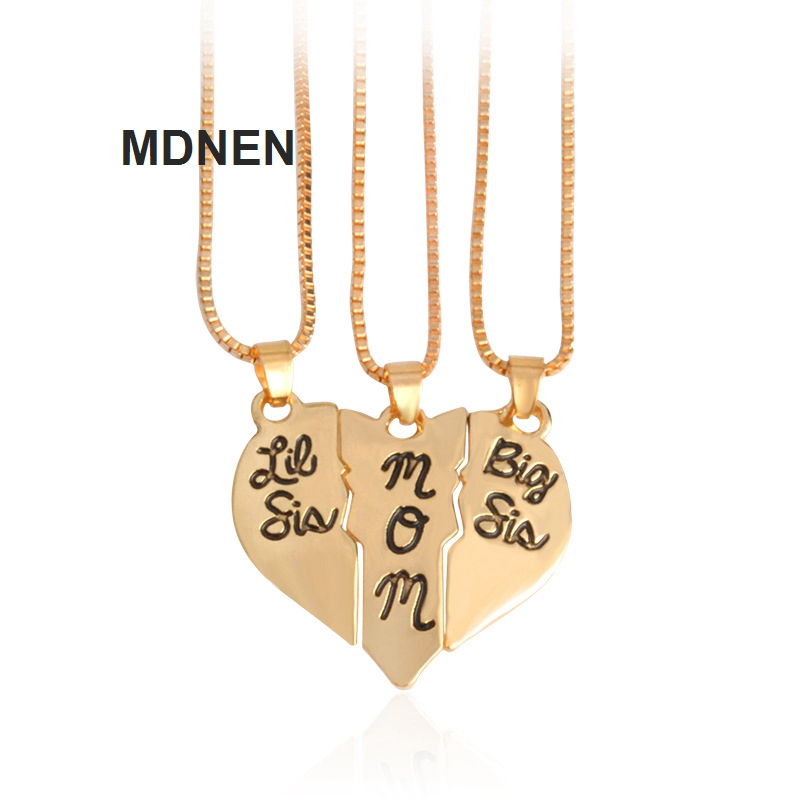 3pcs/set, 2018 New Fashion, 12*39MM BIG SIS MOM Heart Necklace,Creative Necklace,Gift For Mom,XL1188