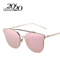 20 20 Fashion Sunglasses Women Popular Brand Design Cat Eye Sun Glasses Summer Pink Lens Alloy