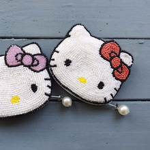 2018 ensso Hello Kitty Coin Purse Pink Carton Coin Purse Hello-Kitty Cross body Bag Cute Beaded Bags Lovely Children Bag Bows bedding set children s virginia secret hello kitty pink with покрывалом