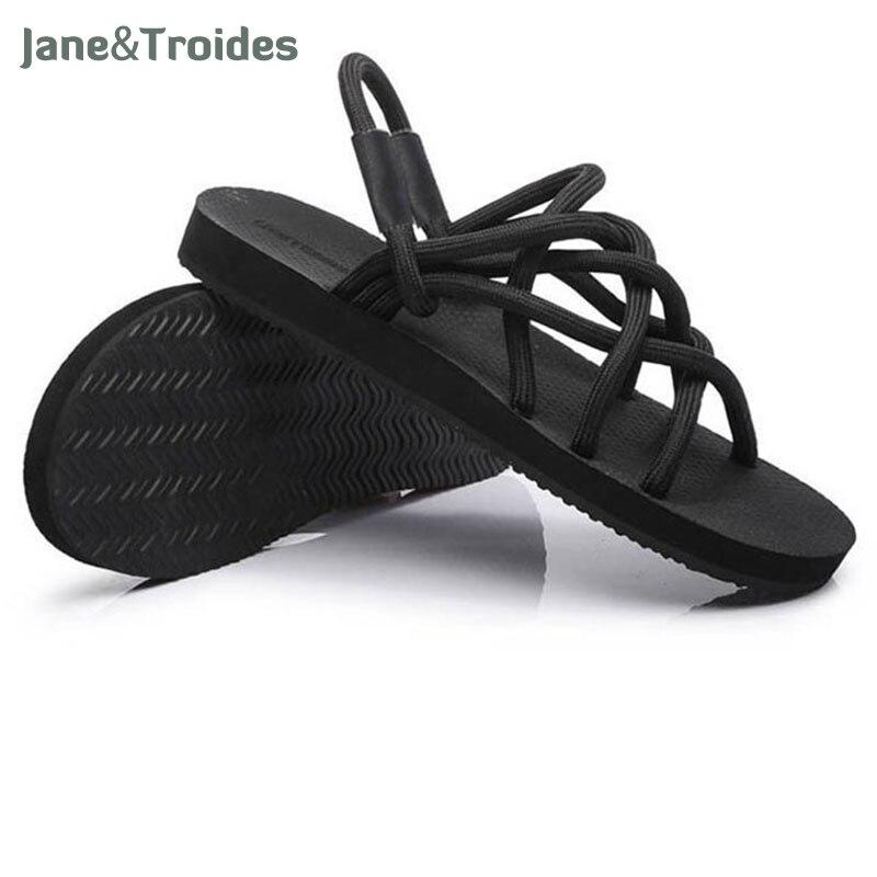 New 2018 Men Sandals Summer Fashion Elastic Rope Beach Sandals Lightweight Unisex Casual Shoes Outdoor Sandalias For Men