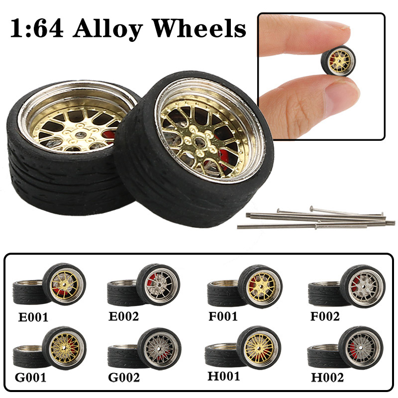 4pcs / Set 1:64 Alloy Modified Vehicle Wheels Rubber Tires Refit Wheels For Car Models Car Accessories Adult Toys Collection
