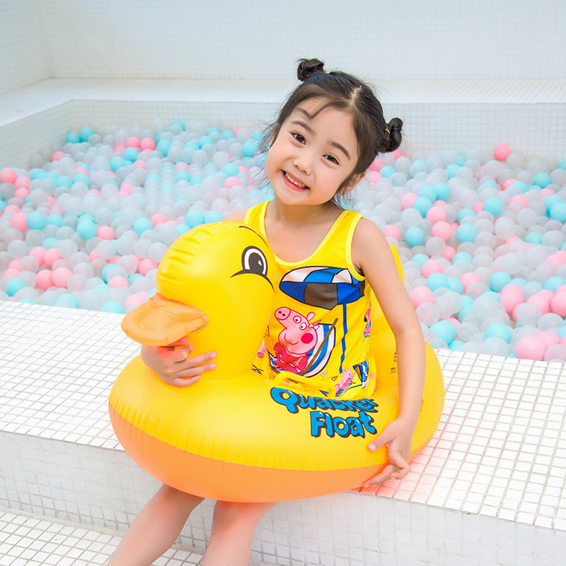 New Baby Swimming Ring Yellow Duck Pool Float For 0-3 Age Kid Swim Circle Water Toys Bathing Floats