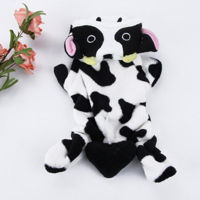 Cow Fleece Costume Jumpsuit Coat Hoo Clothes For Pet Puppy Dog Xs S M L Xl Large Hot