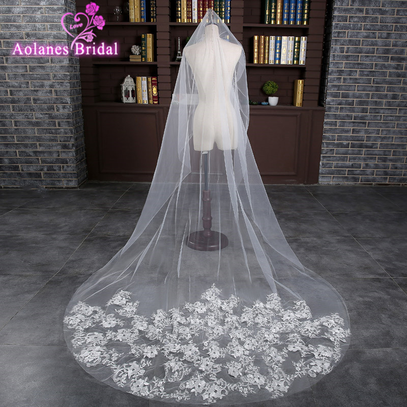 AOLANES In Stock 3M Off White  Appliques Wedding Veil With Comb Flowers Bridal Veil Wedding Accessories Veu De Noiva Longo