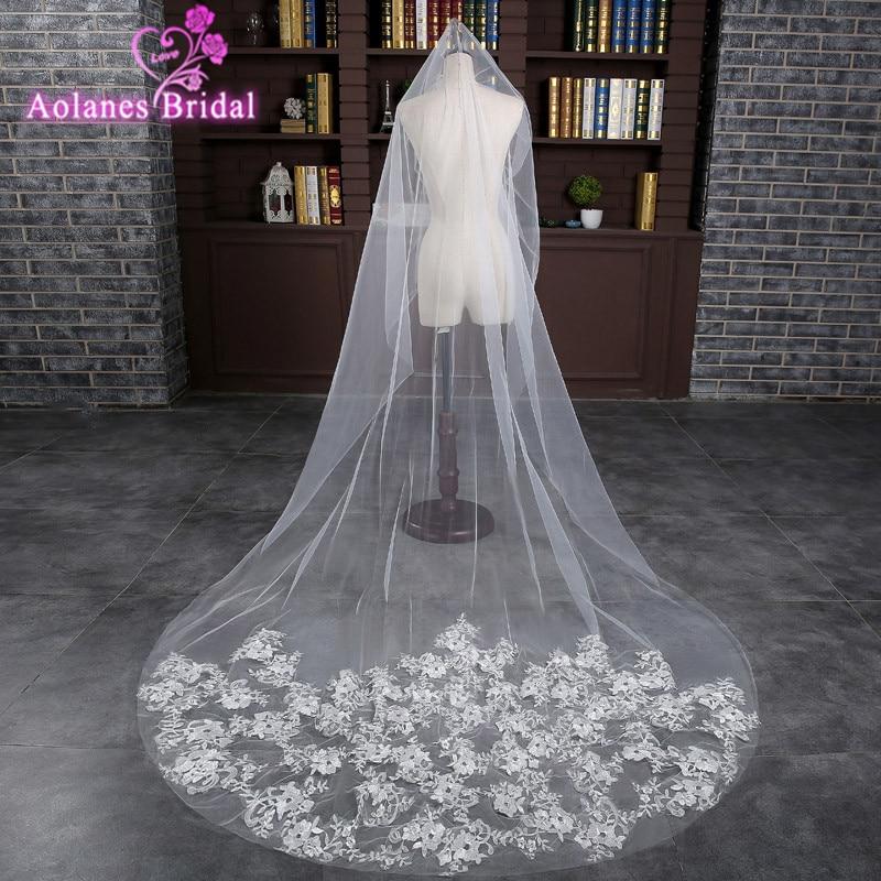 AOLANES In Stock 3M Off White  Appliques Wedding Veil With Comb Flowers Bridal Veil Wedding Accessories Veu De Noiva Longo
