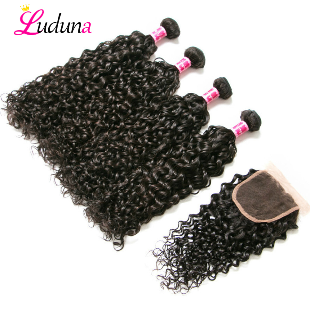 Luda Malaysian Hair Bundles With Closure Water Wave 4 Bundles With Frontal Closure 100 Remy Human