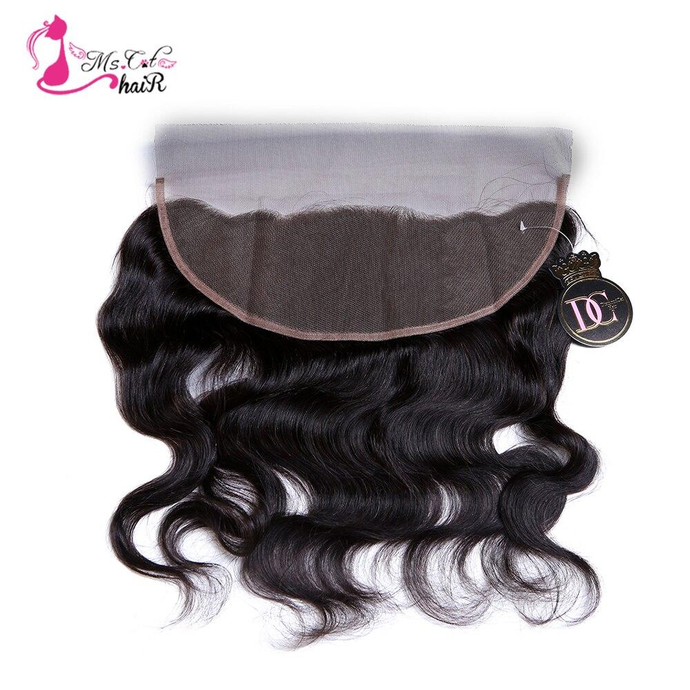 Cierre de pelo Ms Cat de oreja a oreja 13*4 pelo brasileño ondulado Color natural 100% cabello humano Remy Frontal de encaje