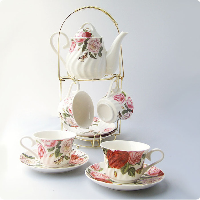 9 Afternoon Tea Coffee Set Butterflies Cup Holder 1 Pot 4 And Saucer High Quality