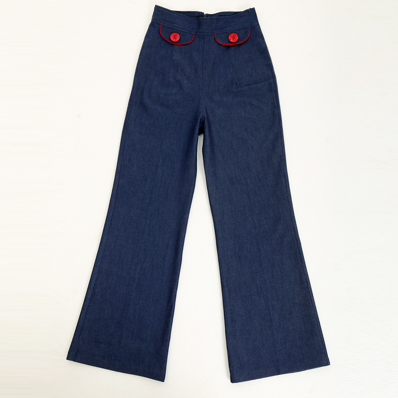vintage style clothes uk, free shipping female jeans flare design trousers woman pin up, Design ideen