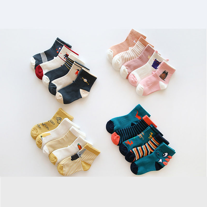 1 set=5 pairs Autumn Winter Cartoon Socks for Boys and Girls Children Mid Tube Socks 1 3 5 8 12 years Kids Cotton Socks