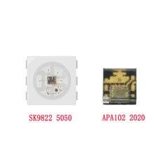 10 pcs 1000 pces sk9822 (apa102 semelhante) chips de leds ic smd 5050 rgb apa102 2020 smd rgb inteligente leds APA102-2020 para faixa de tela dc5v