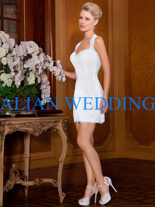 Hot Sale Halter Neck Short Wedding Dresses Made In China 2015 Bling