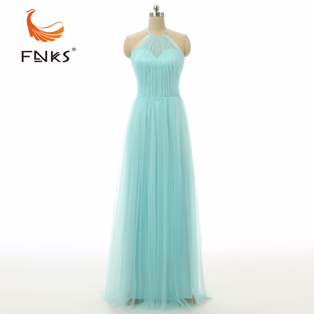 FNKS Elegant Light Blue champagne Maid Of Honor Gown Halter Long Tulle font b Bridesmaid b