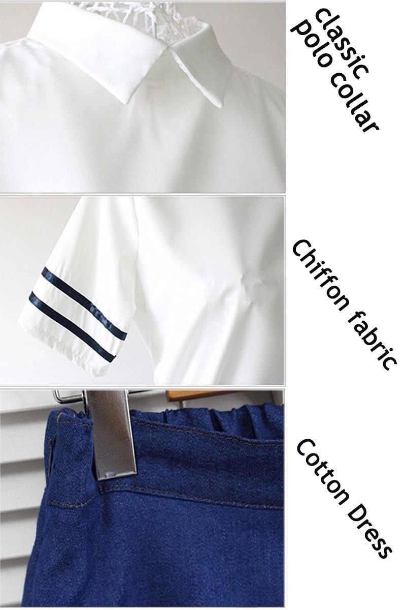 Демисезонный японский JK школы Обувь для девочек студент равномерное Наборы для ухода за кожей белый короткая юбка Sailor Костюмы для Для женщин S-XL Бесплатная отправка