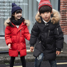 2017 Fashion Girls Winter Down Jackets Long Warm Thick Hooded Coat Kids Outerwear With Mink Fur Collar Parkas Overcoat