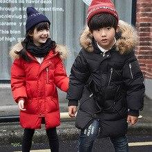 Зимние дети пуховик мальчик долго утолщение воротники cuhk TongBaoBao пальто из девушек