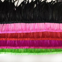 EMS free shipping Natural feather ribbon 40 45cm height 10meters/lot Dyed Rooster Feathers Fringe Trim Costume decoration