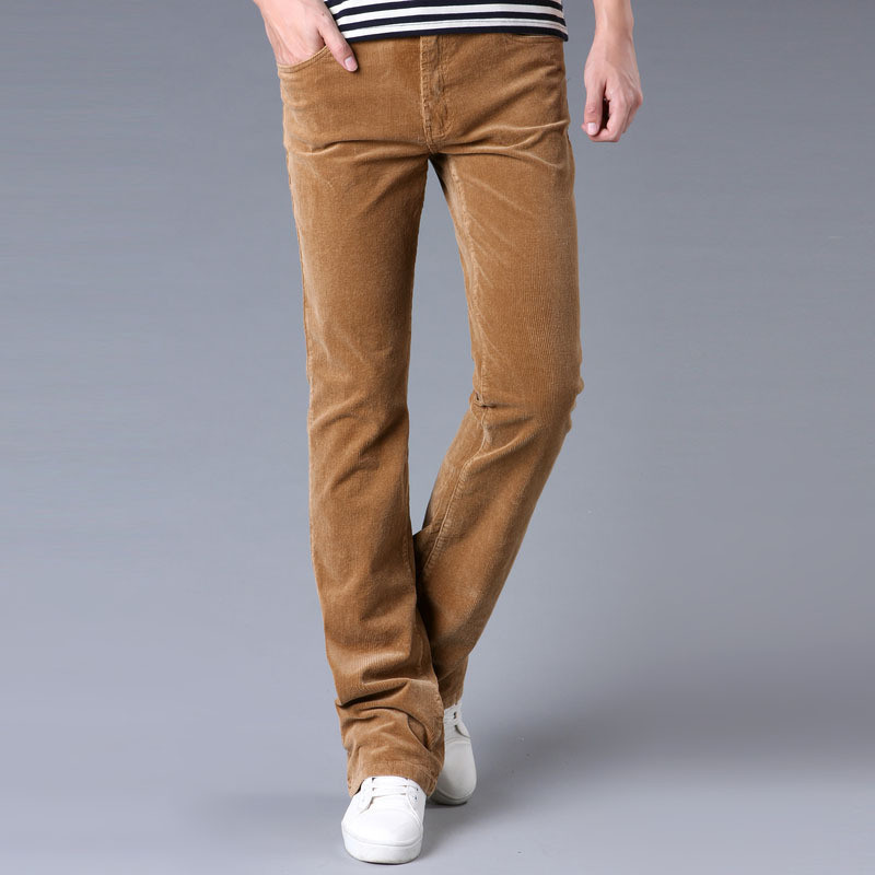 Spring And Autumn Men's Jeans Casual Micro Bell-bottomed Corduroy Trousers Korean Version Of The Stretch Slim Wide Leg Pants