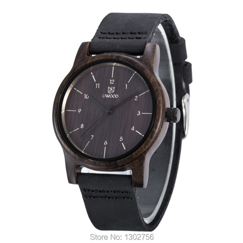 UWOOD 100% Genuine Leather Analog Black Sandal Wood Watch MIYOTA Quartz Movement Wooden Watch For Men Women Lover Gift