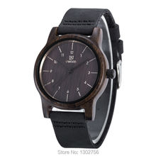 UWOOD 100 Genuine Leather Analog Black Sandal Wood font b Watch b font MIYOTA Quartz Movement