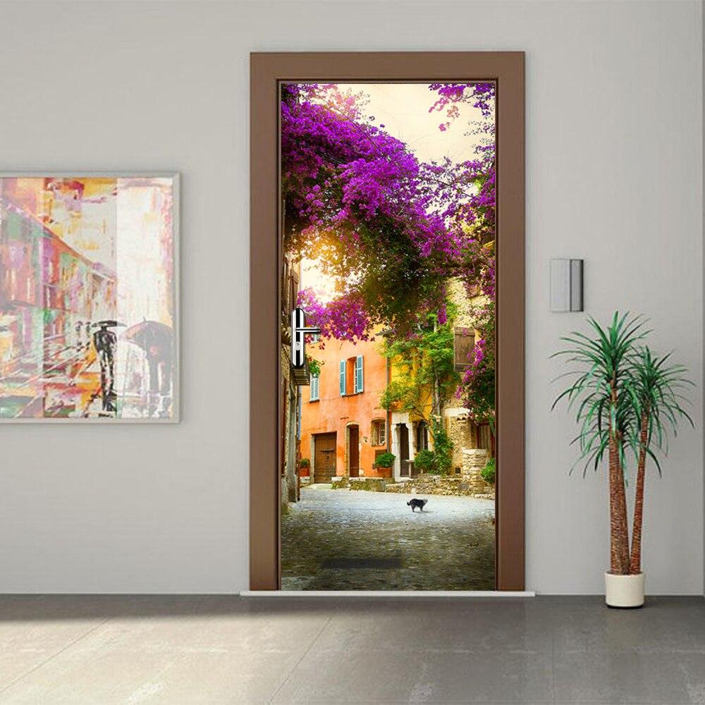 3D Decor Landscape Gadren House Door Stickers WallPaper Waterproof Living Room Bedroom Door Wall Sticker Wall Decals