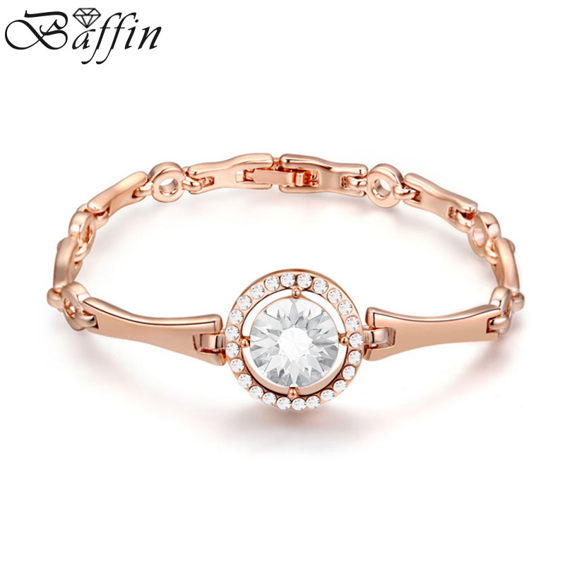 Baffin Fashion Crystal From SWAROVSKI Bracelets Rose Gold Color Watch Shaped Quality Jewelry For Kids Girls Gift 16CM