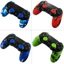 For Sony Dualshock PS4 DS4 Slim Pro Controller Silicone Camo Case Protective Skin + Thumb Stick Caps for Play station 4 ivyueen 9 in 1 for dualshock 4 ps4 slim pro controller studded skin premium protective anti slip soft silicone grip case cover