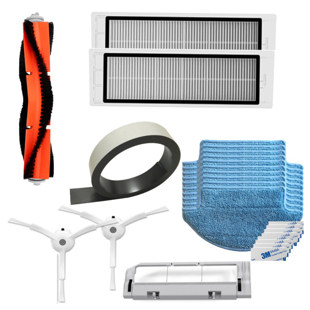 XIAOMI Mi Robot Vacuum Cleaner Part Kit mijia Side Brush HEPA Filter Main Brush Cleaning Tool Mop Cloths Virtual wall 7 inch round led headlights drl