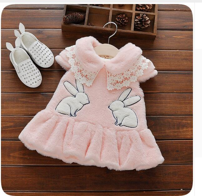 New Arrival Baby Snow Wear Girls Baby Clothing 0-2T White Pink Cute Rabbit Pattern Winter Outerwear & Waistcoats 2016 Vogue