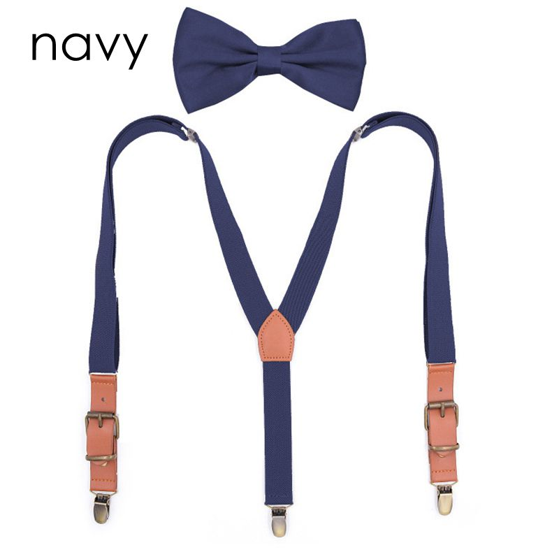 Yienws Bretelles Adultes Bow Tie Suspenders For Men Women Vintage Pu Patch Suspenders Pants Braces Butterfly Suspenders YiA098